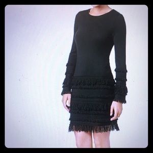 "Trina Turk ""Sass"" fringe sweater dress; dark gray"